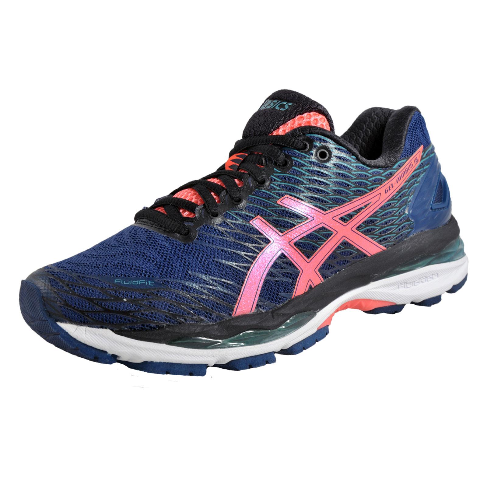 asics gel nimbus 18 womens running shoes fitness gym trainers posedion blue ebay. Black Bedroom Furniture Sets. Home Design Ideas