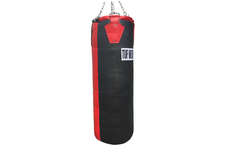 GIGANTOR HIDE LEATHER PUNCH BAG BLACK RED 140CM (4 '6) APPROX 65KG - TW10397