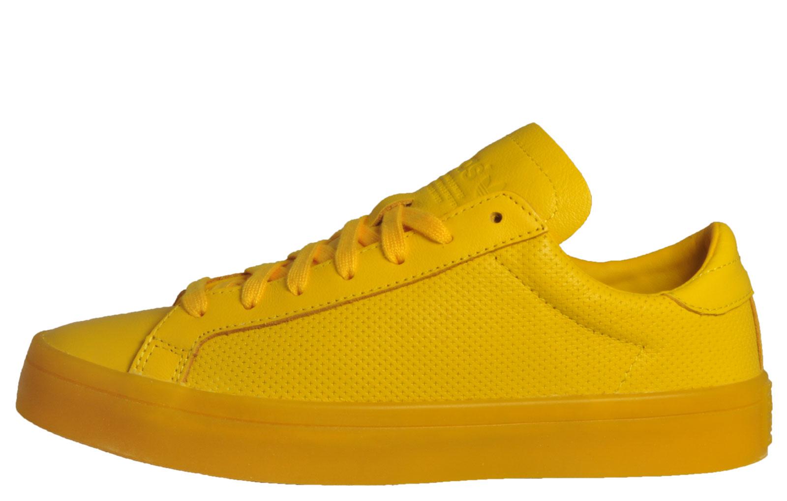 Adidas Originals Court Vantage Adicolor Mens Classic Casual Trainers Yellow