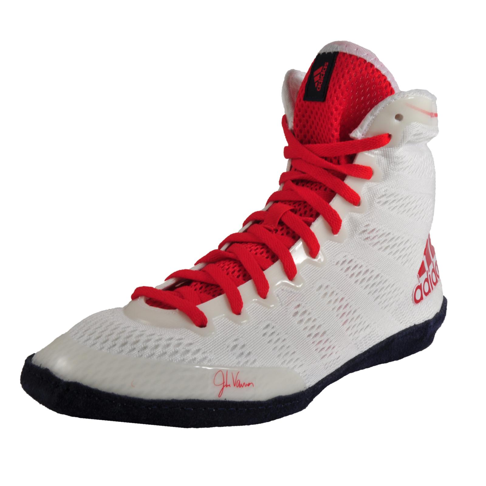 new product 705b4 c7bbc Adidas Adizero XIV Mens Jake Varner Signature Wrestling Boots Shoes White