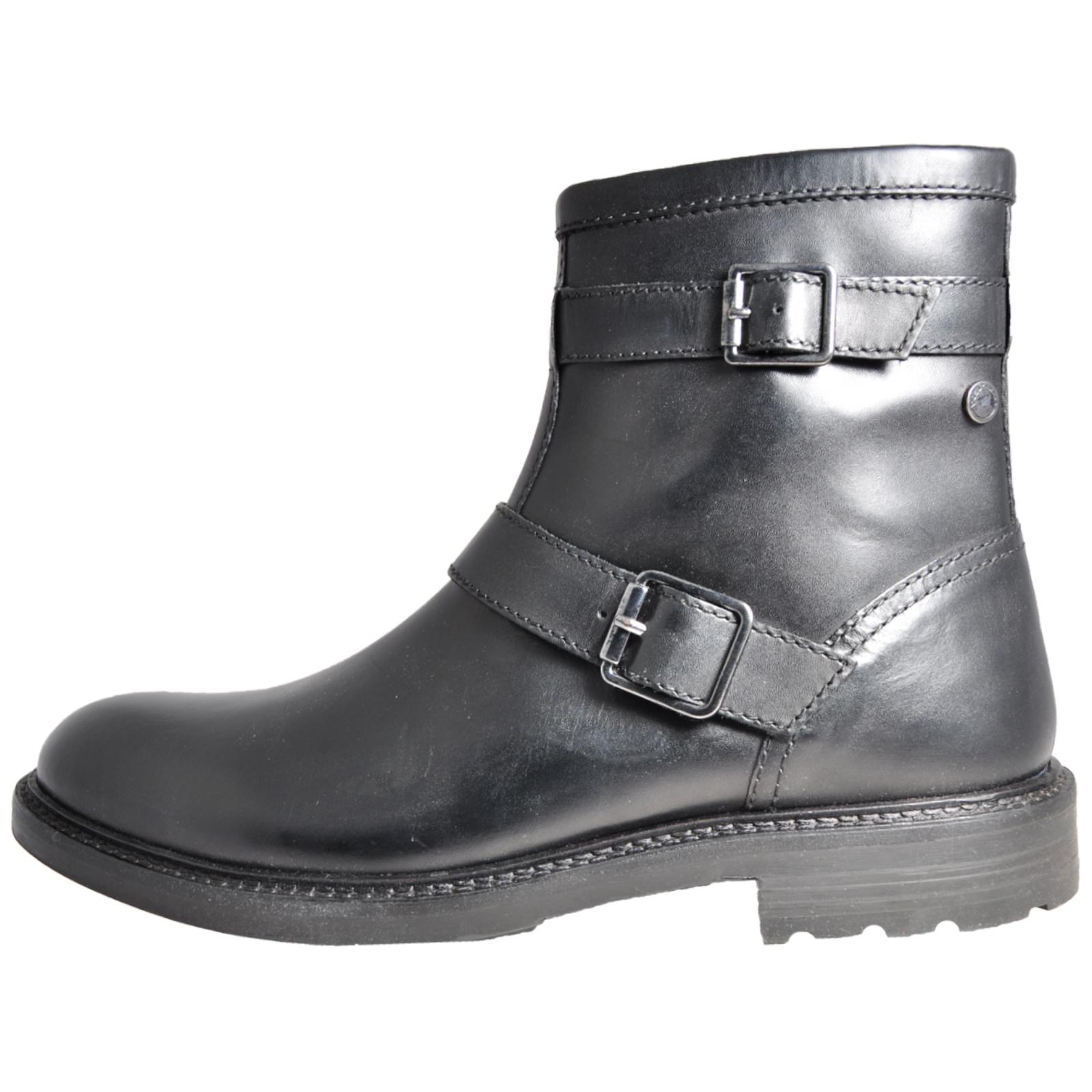 b574bf3572f Details about Base London Ortiz Men's Leather Ankle Biker Boots Black  (SAMPLE) UK 8 Only