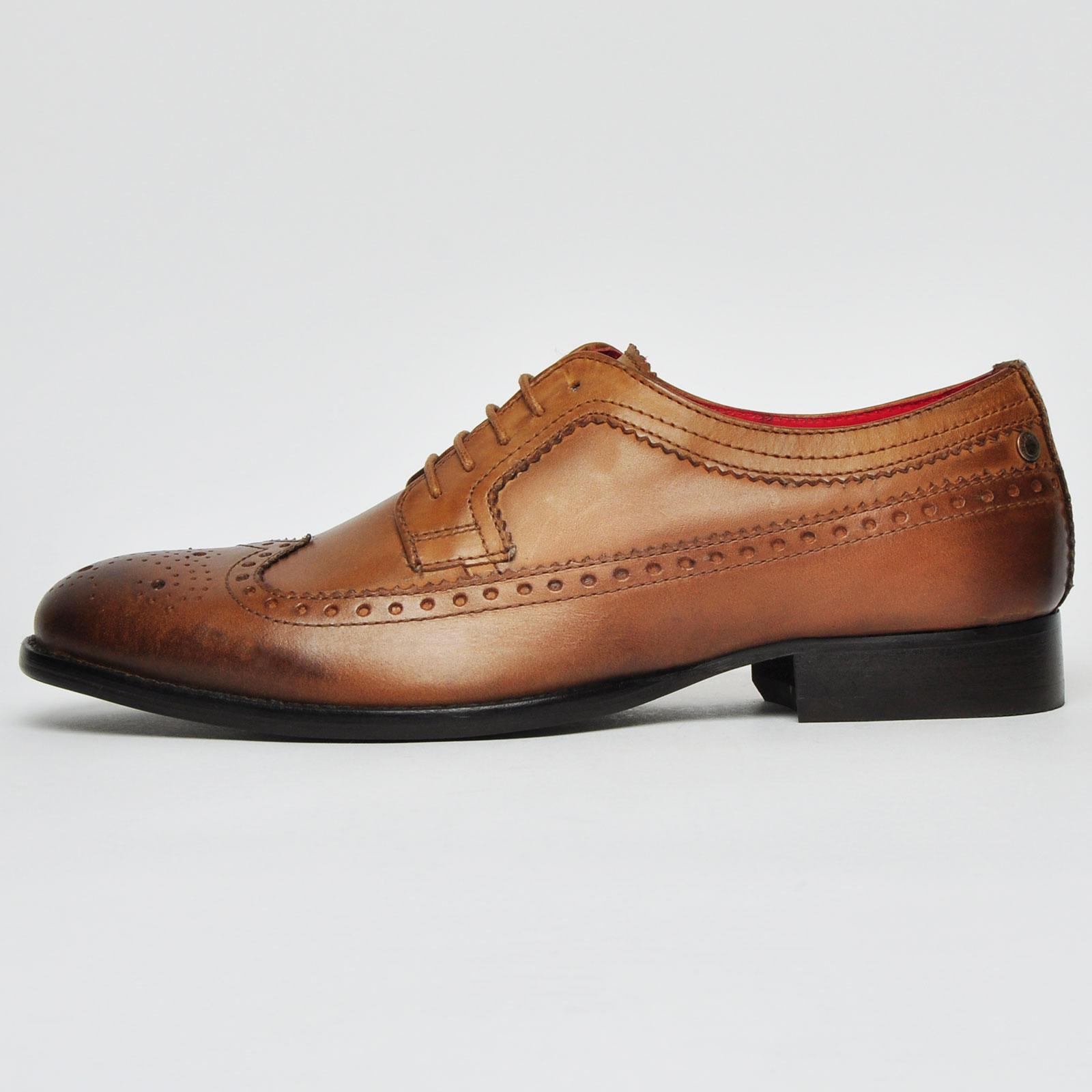 Detalles de Base london Bailey Hombre Vestido Formal Elegante Zapatos Brogue Cuero Marrón