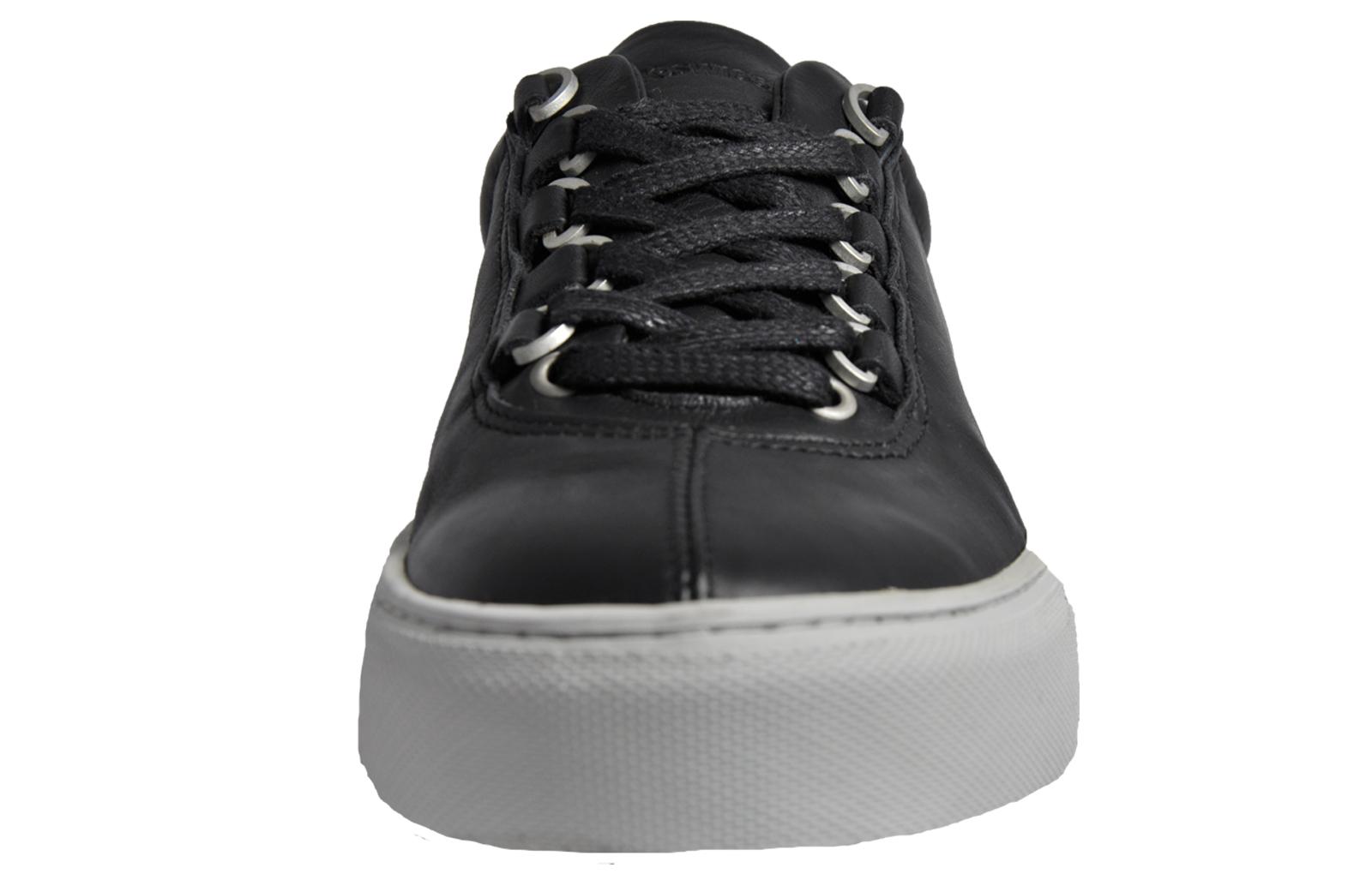 Leather Hi Top Retro Trainers Black