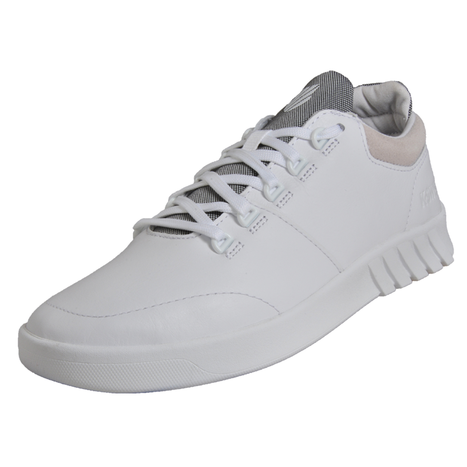 82558b5a5531b Details about K Swiss Mens Aero Trainer Leather Casual Retro Fitness Gym  Trainers White