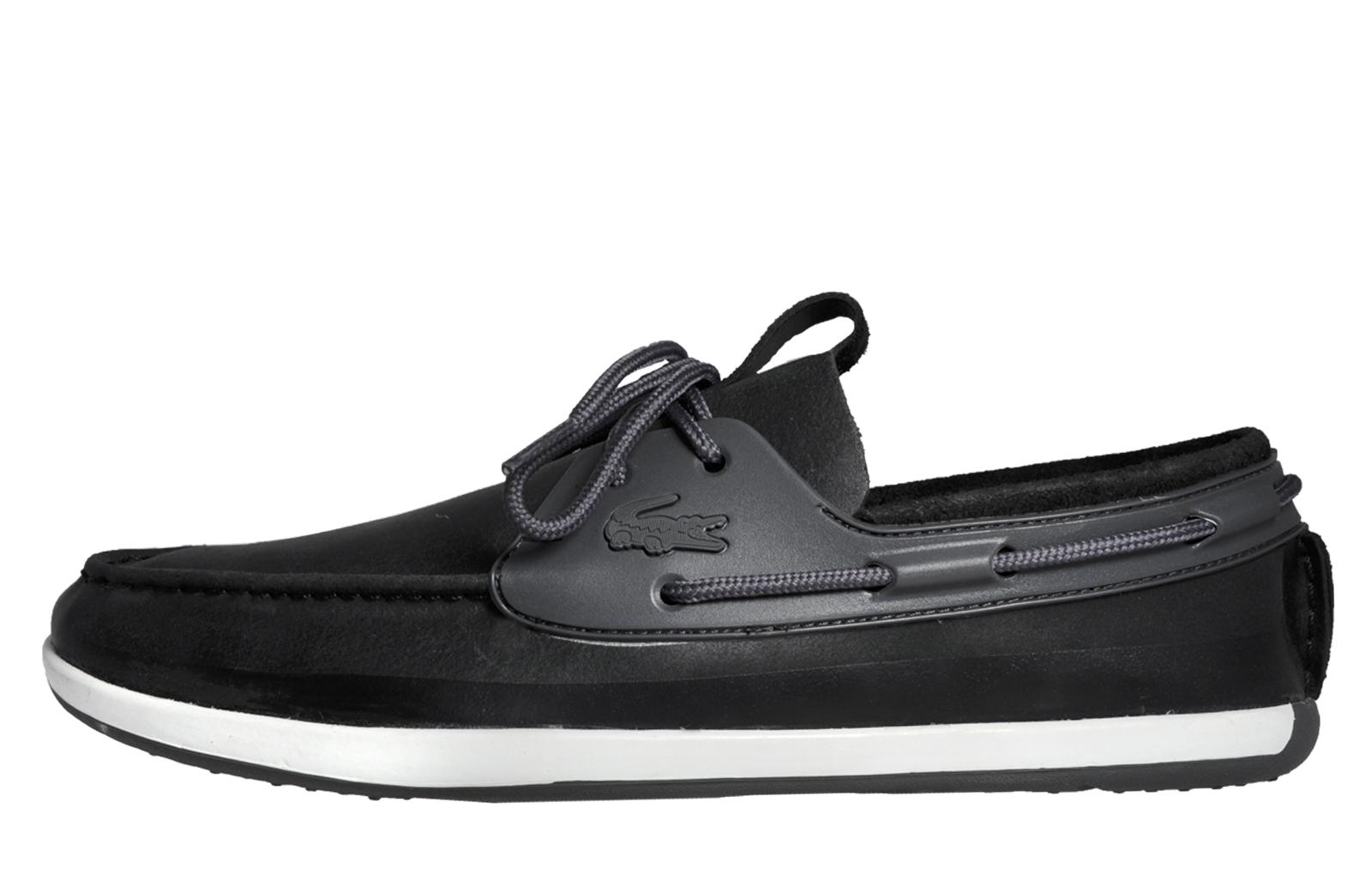 9bbc5049c9de Lacoste Landsailing 316 Mens Classic Casual Designer Leather Boat Shoes  Black