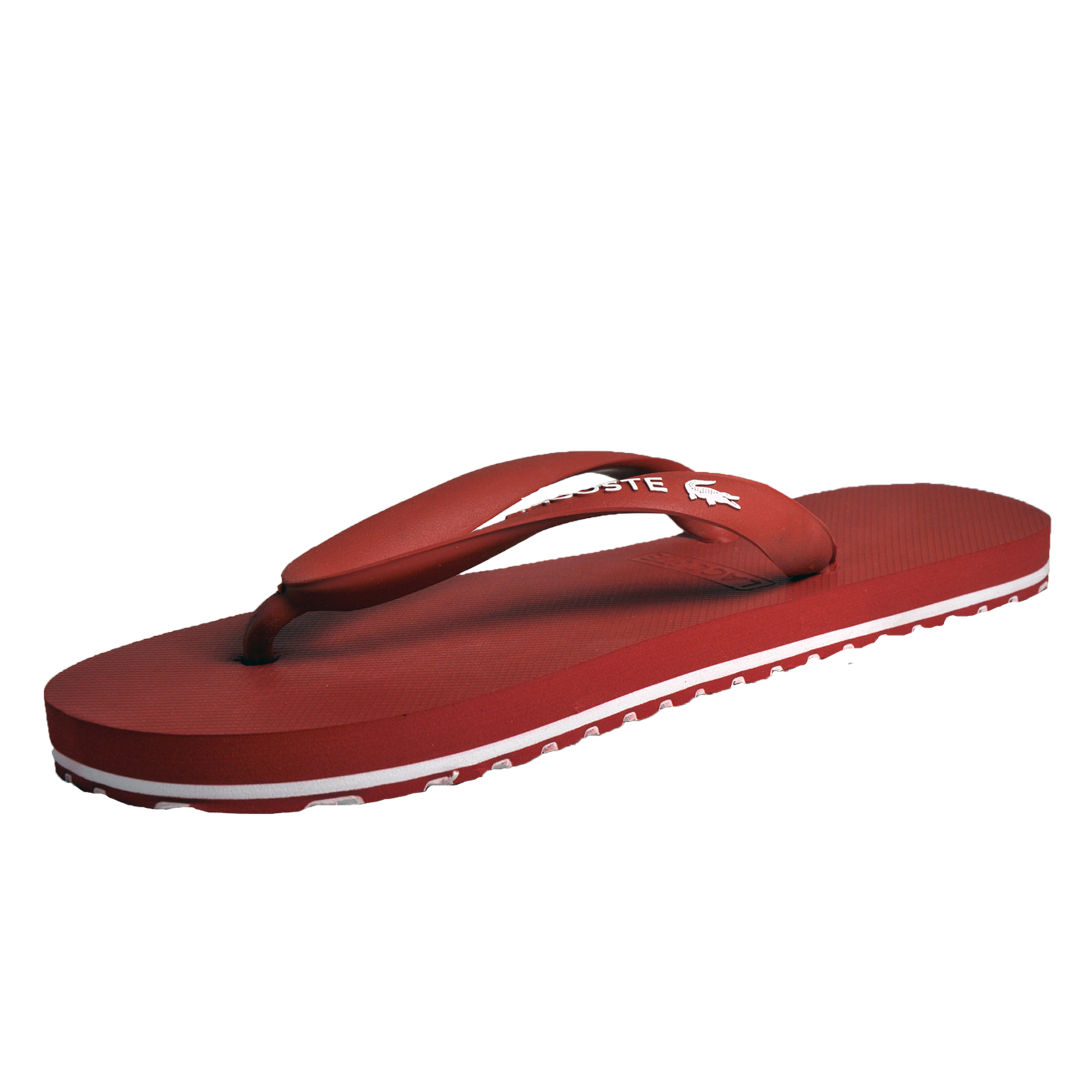 1cf95db10a6a Lacoste Nosara Mens Premium Designer Thong Flip Flops Holiday Sandals Red