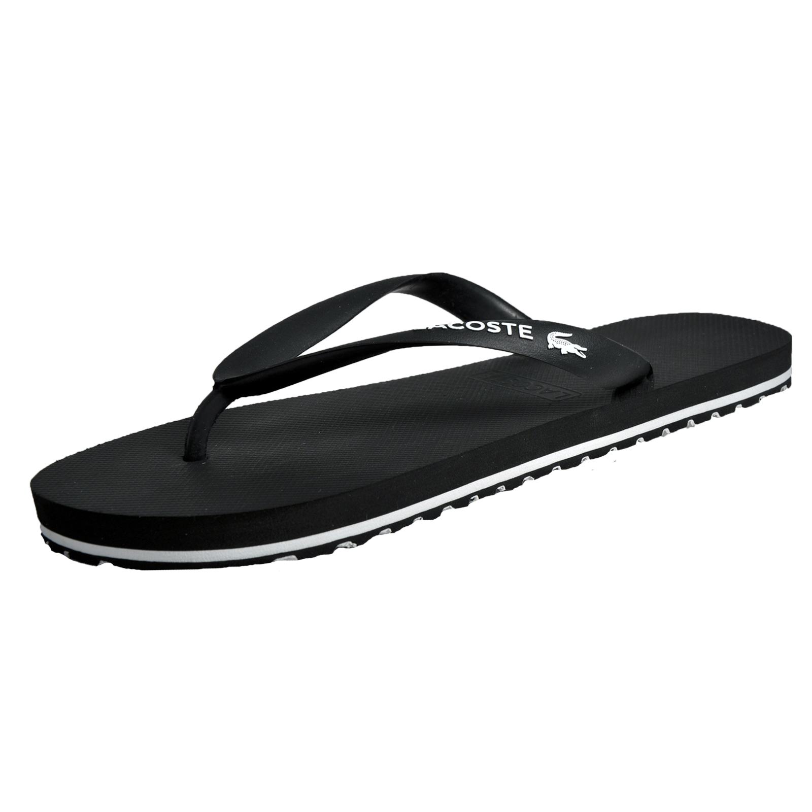 0f9b5f2649ced Details about Lacoste Nosara Mens Designer Flip Flop Summer Holiday Sandals  Black