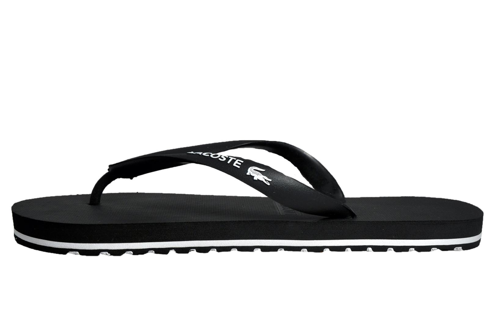 92dea91c609eb5 Lacoste Nosara Mens Designer Flip Flop Summer Holiday Sandals Black. Black  Logo Slide Sandals