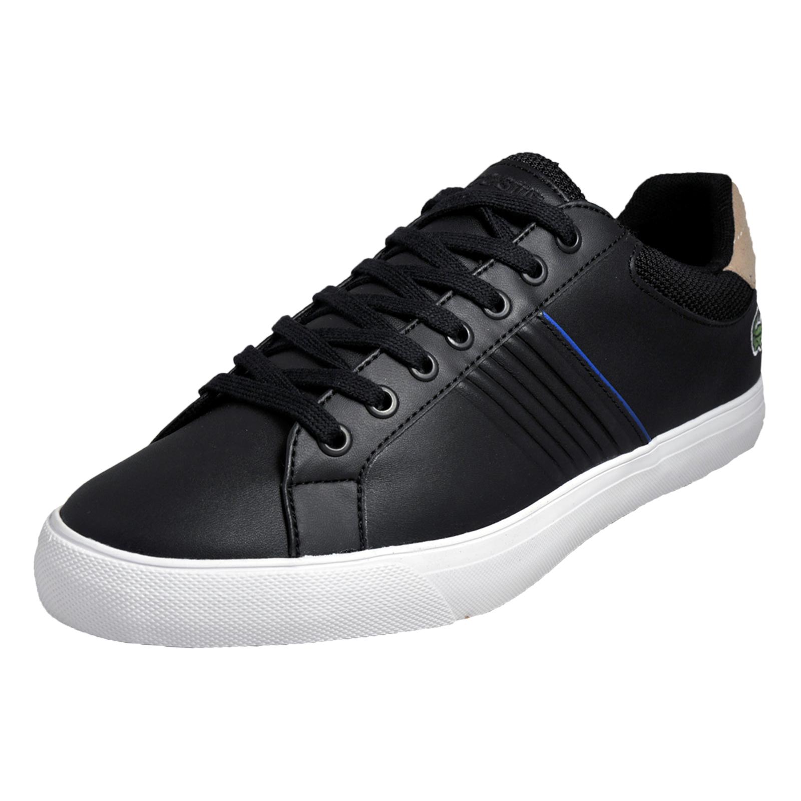cd0c9df99 Details about Lacoste Fairlead 117 Mens Designer Leather Classic Casual  Trainers Black