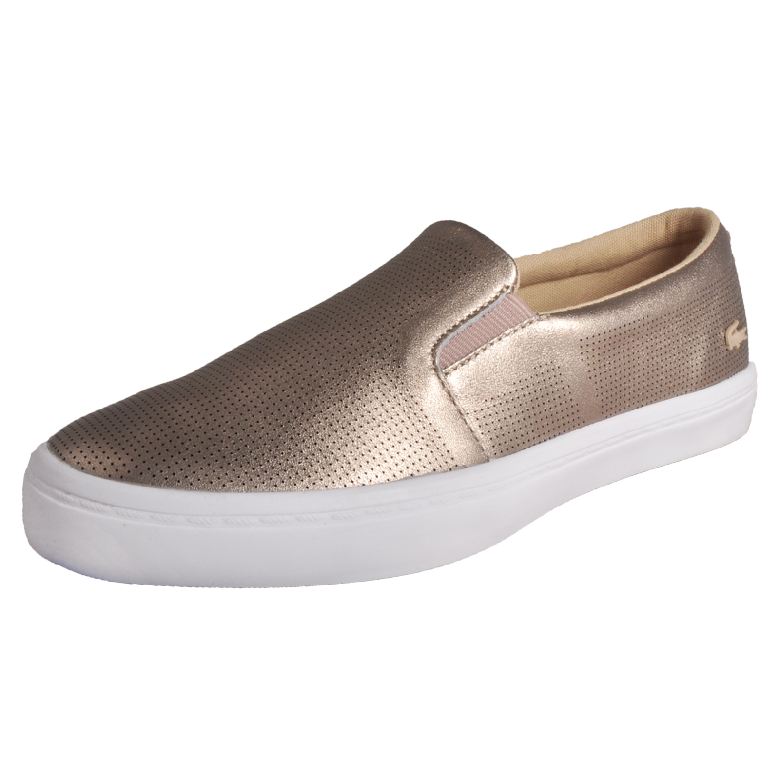 98776a105d88c3 Details about Lacoste Gazon 116 Womens Classic Casual Designer Slip-On  Trainers Gold