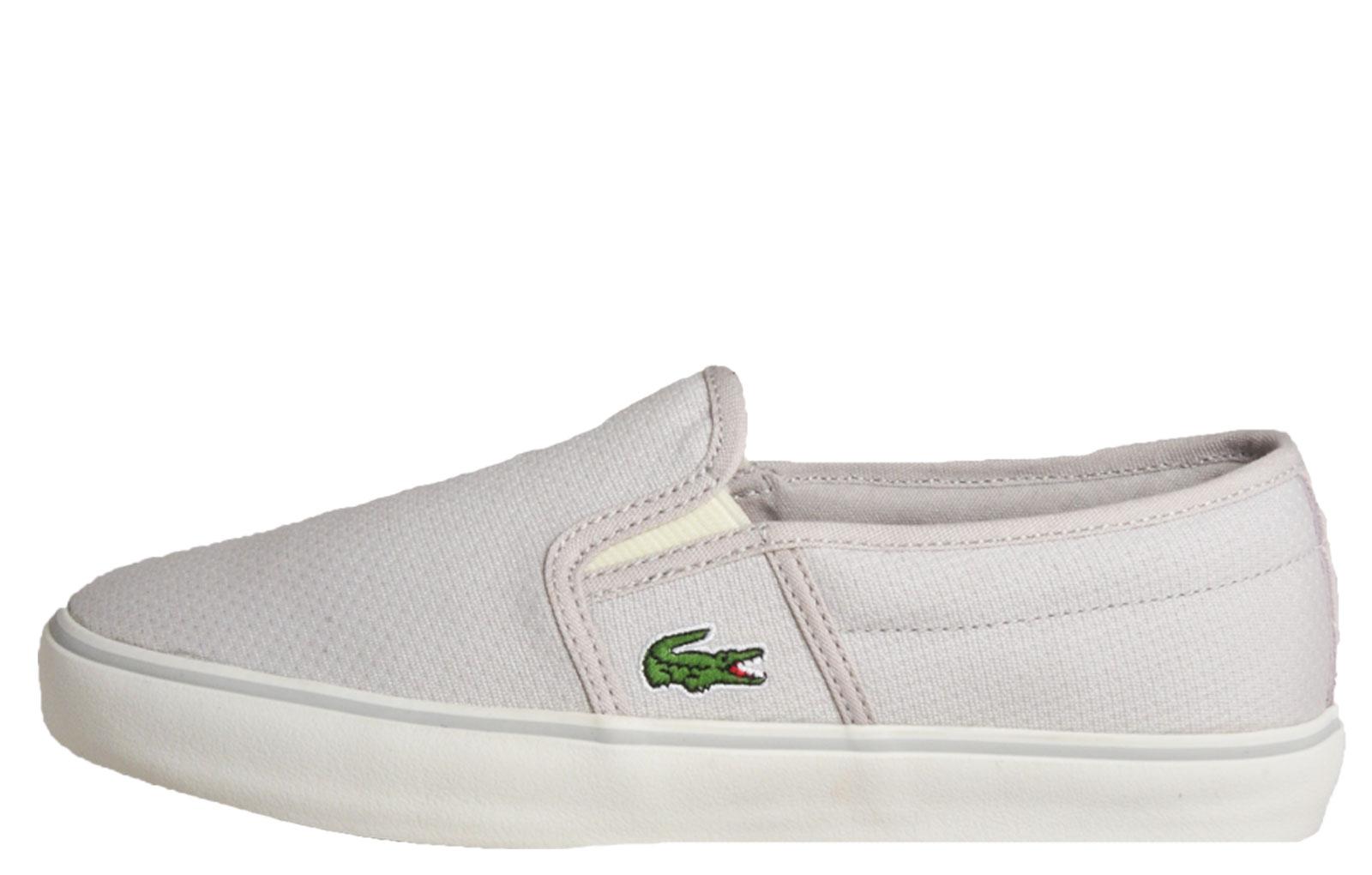 d4ddf4cd17b3e9 Lacoste Gazon 116 Womens Designer Slip-On Classic Casual Trainers Light Grey