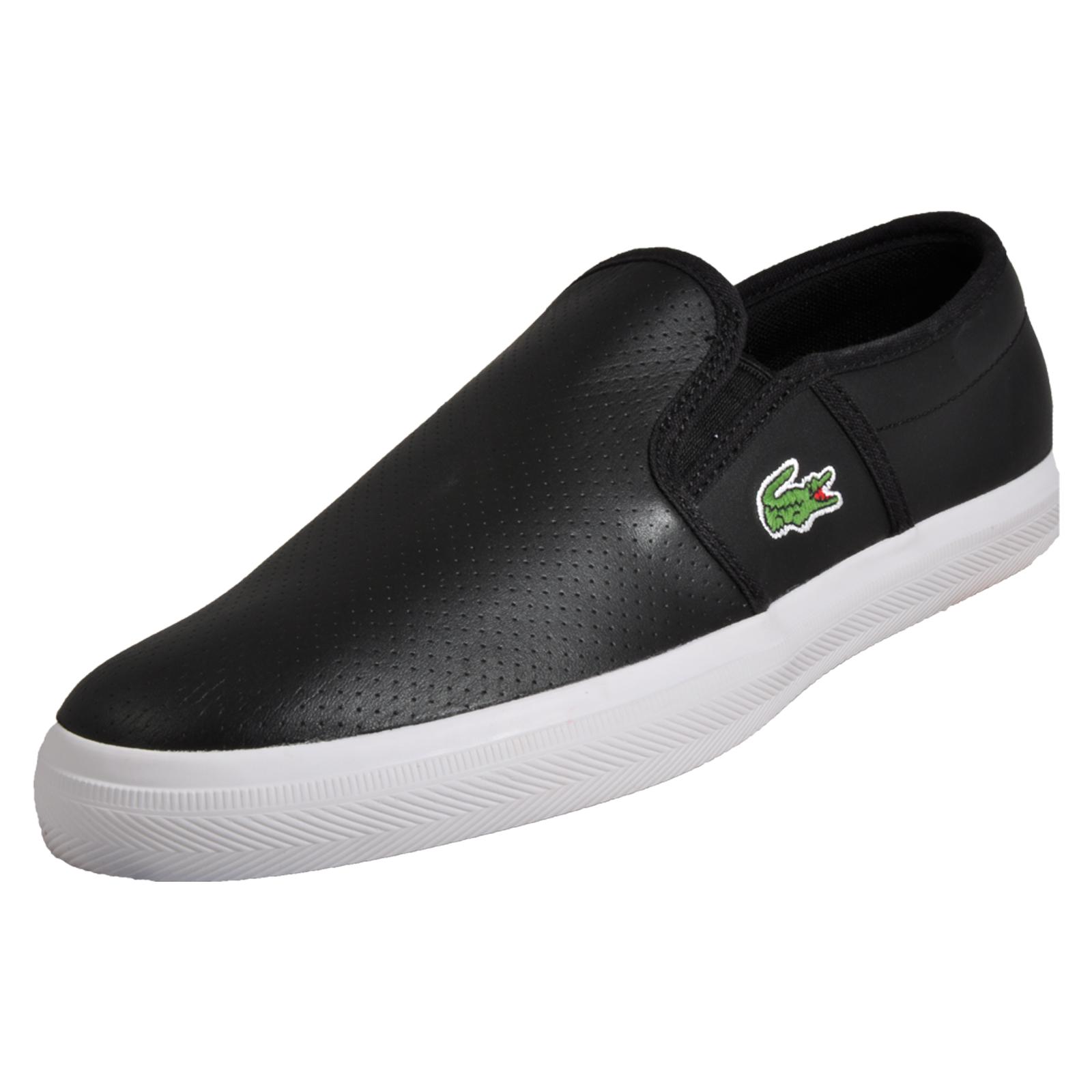 58f10618c Details about Lacoste Gazon Men s Slip-on Designer Classic Leather Trainers  Black B Grade