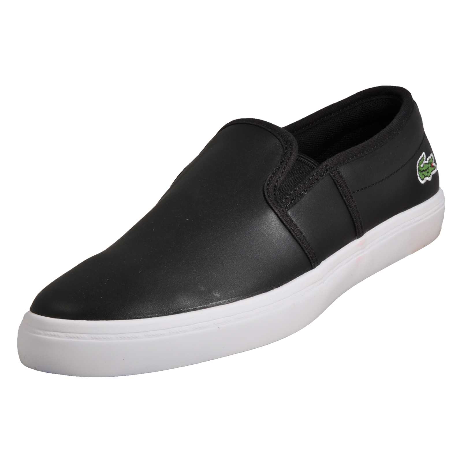 356f89f689c1d Details about Lacoste Gazon BL Womens Slip On Leather Retro Designer Trainers  Black B Grade