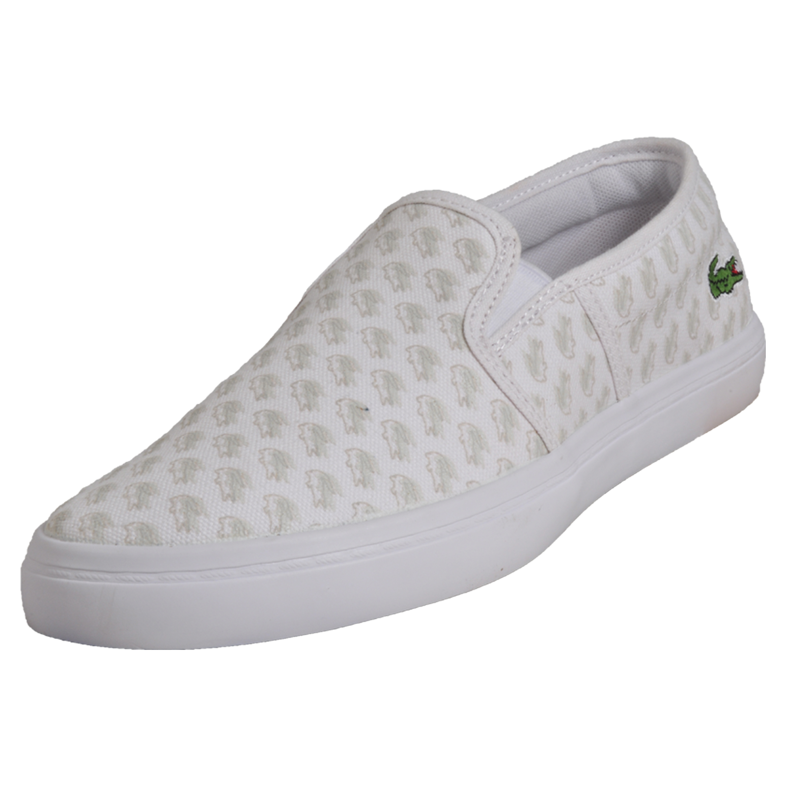 837eb9524 Details about Lacoste Gazon Women s Slip-On Casual Designer Plimsol Trainers  White B Grade