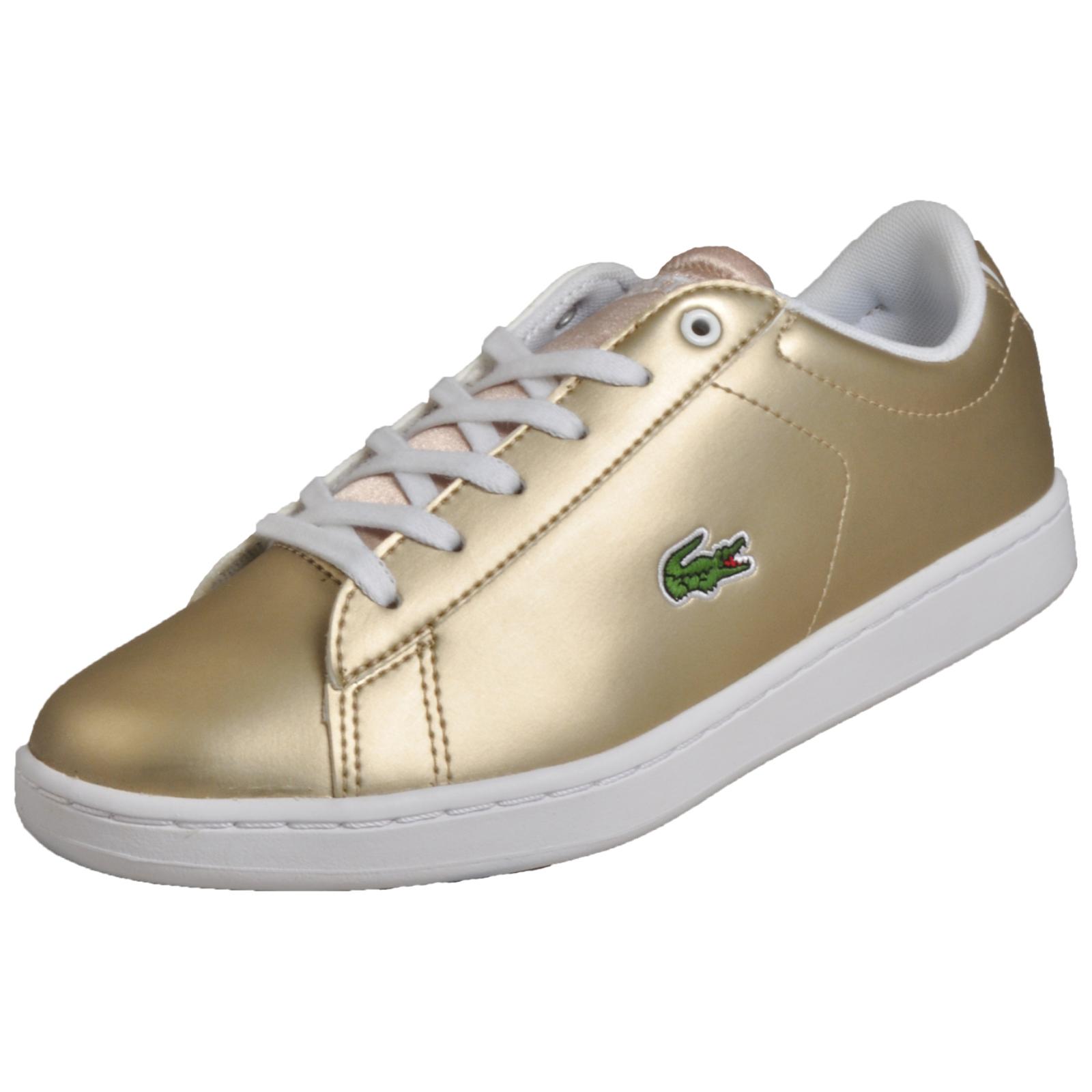 Lacoste Carnaby Evo 218 Junior Girls Classic Designer Trainers Gold B Grade c21f59d27c