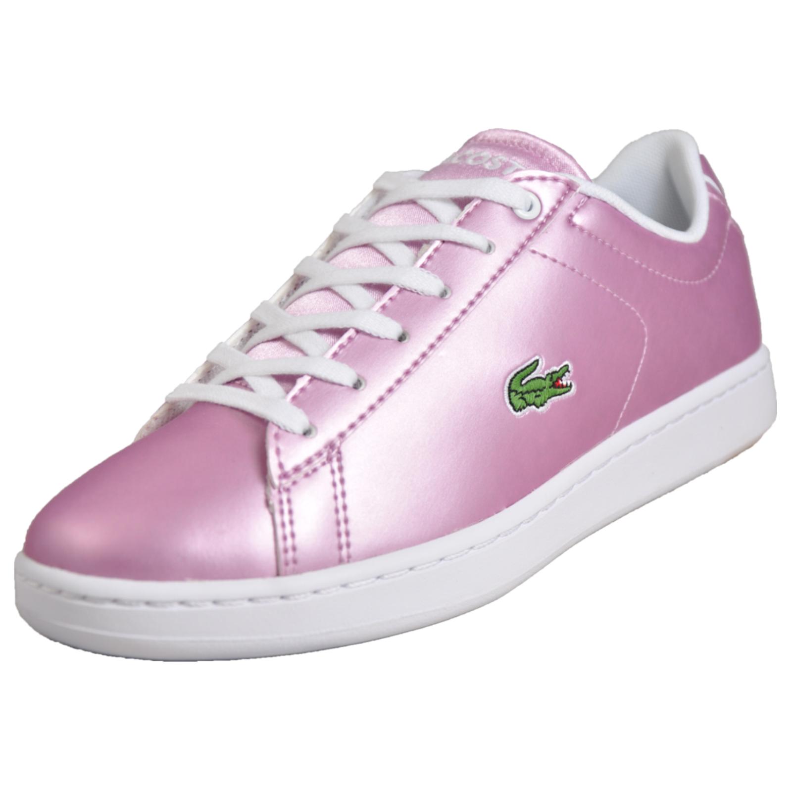 ccb6f13da Details about Lacoste Carnaby Evo 218 Junior Girls Classic Designer Retro  Trainers B Grade