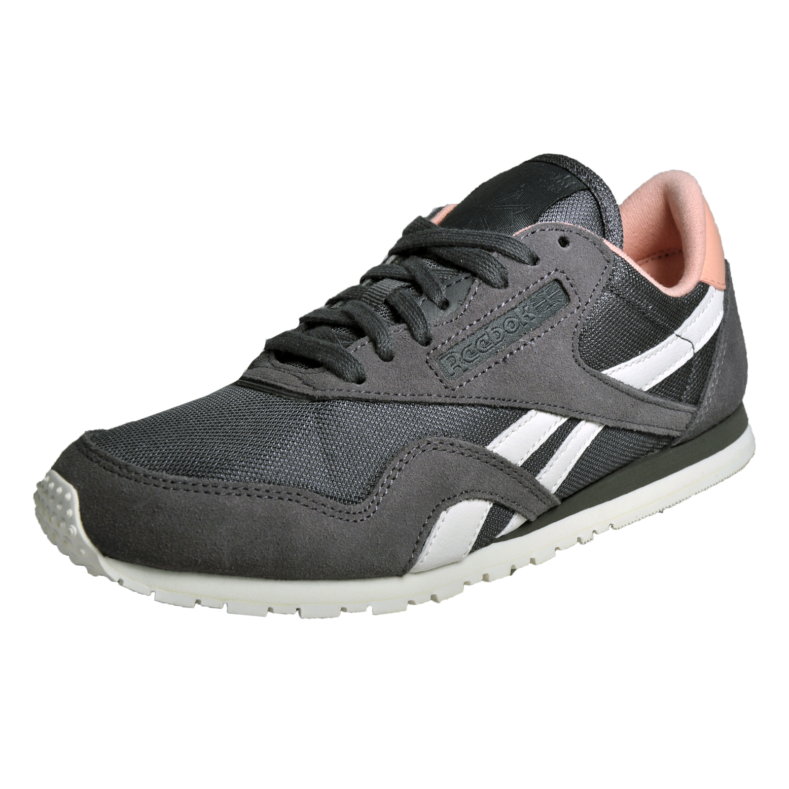 eb1a8c1bed3 Details about Reebok Classic Nylon Slim Core Women s Casual Retro Trainers  Grey