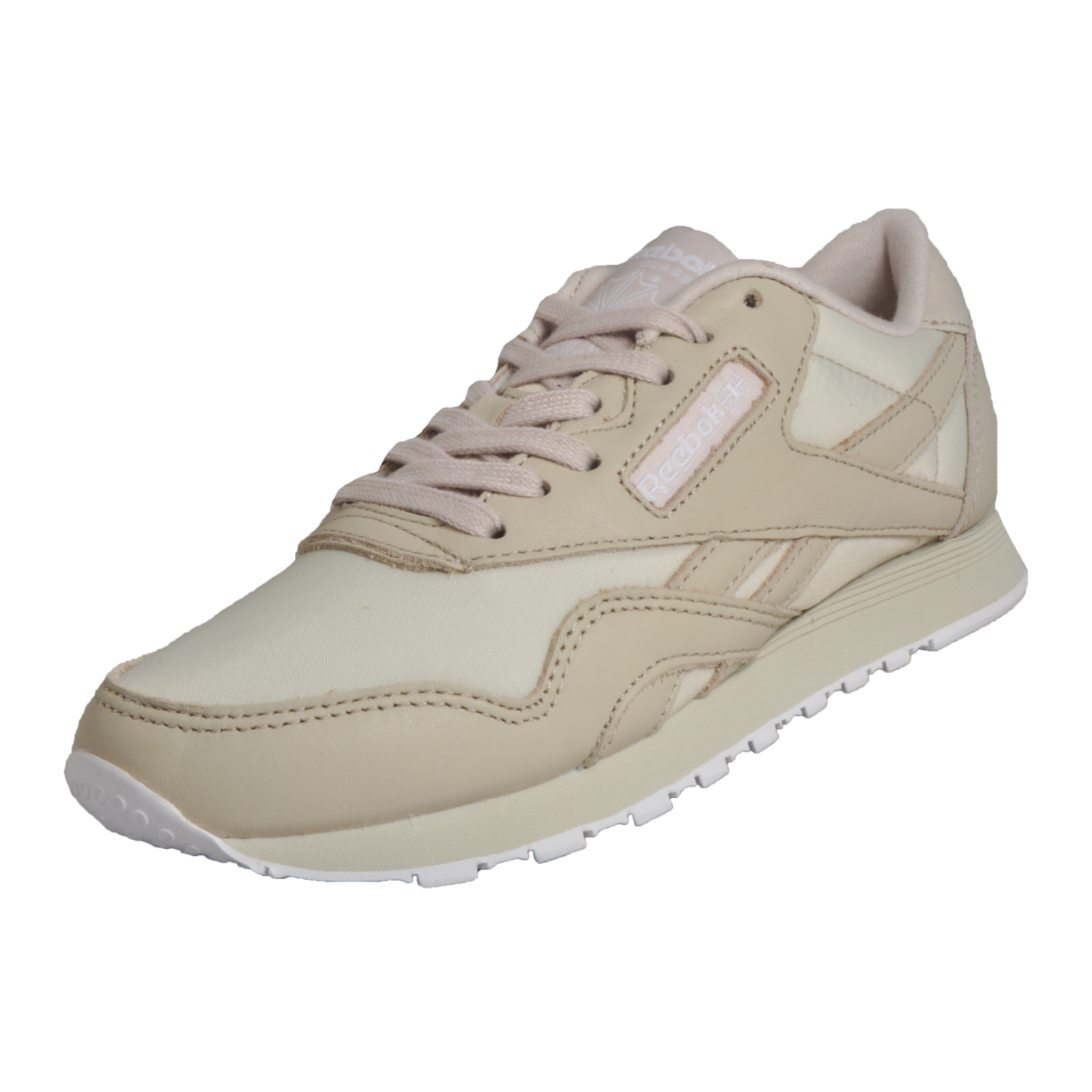 01ae290208f9d2 Details about Reebok Classic CL Nylon PJ Women s Retro Fashion Trainers  Cream