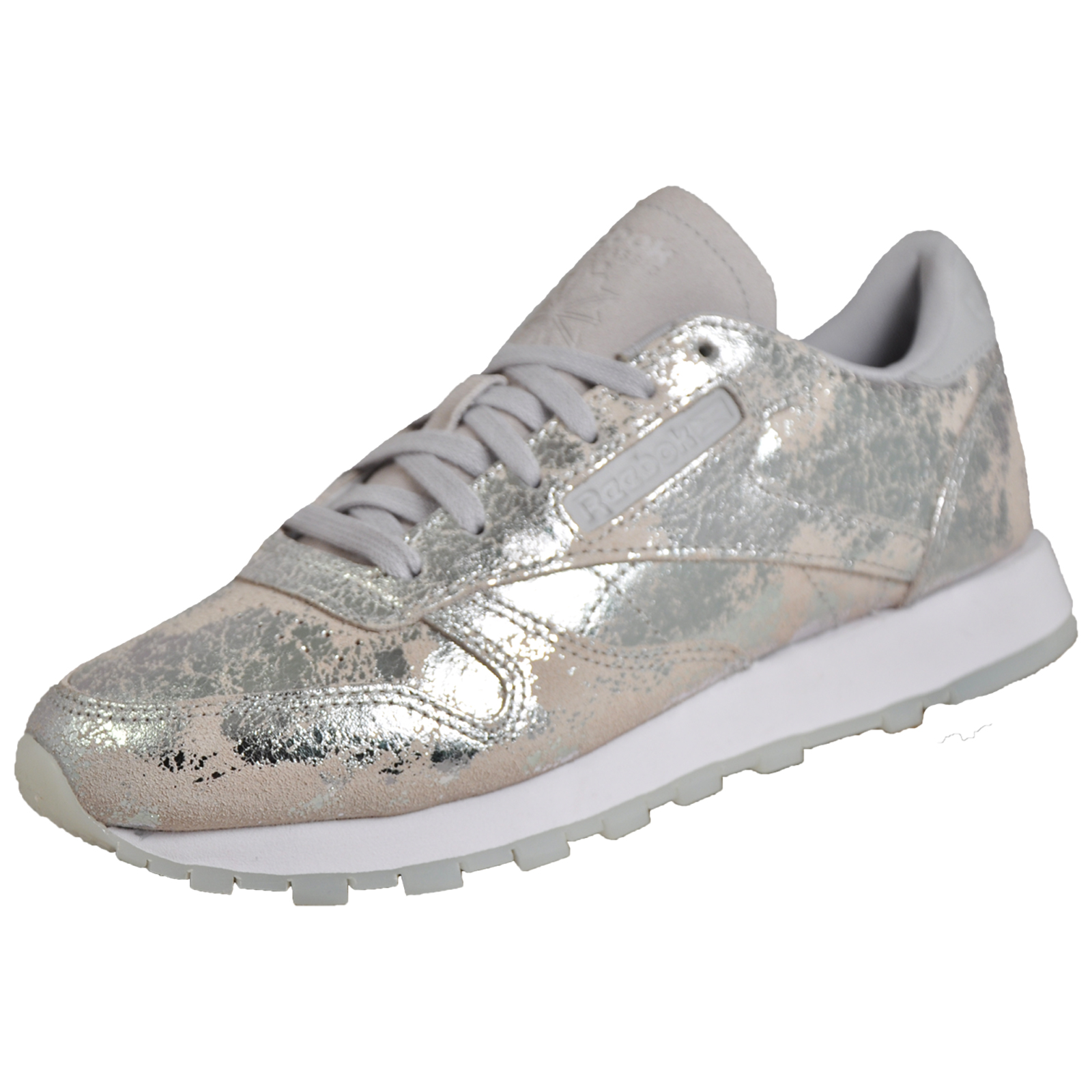 eea3aa1edf2 Details about Reebok Classic CL Leather Hype Women s Girls Casual Retro Trainers  Silver