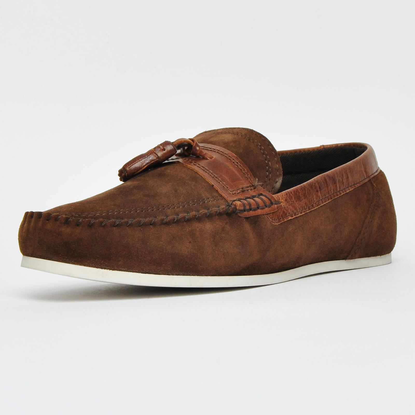 a7d80c8574c8df Details about Red Tape Houghton Mens Suede Leather Slip On Designer Loafers Casual  Shoes Brown