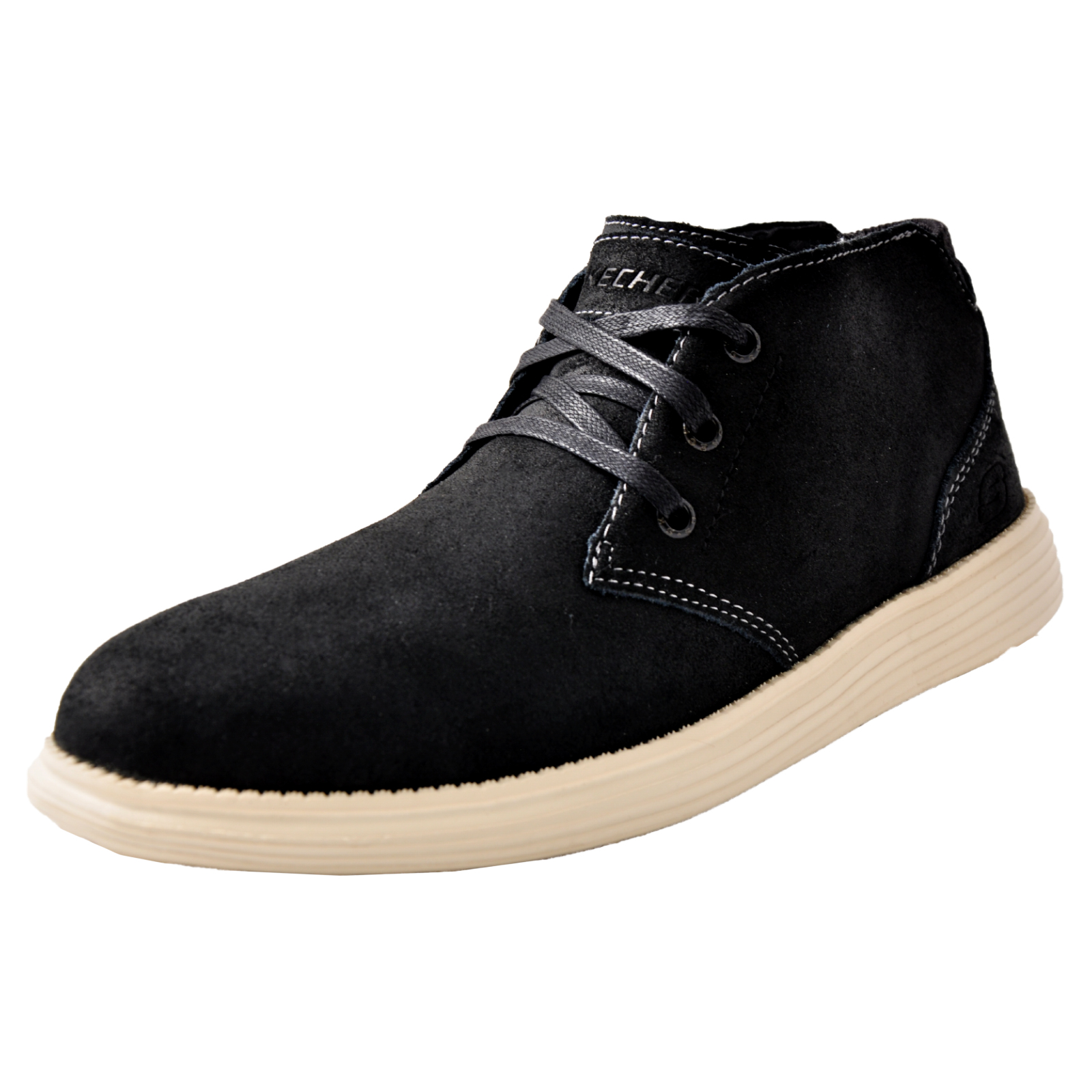b6ea6780c8c9e Skechers Status-Rolano Men s Memory Foam Smart Leather Chukka Ankle Boots  Black