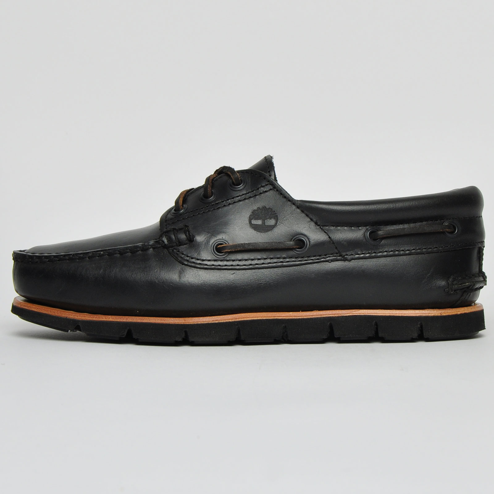 Leather Boat Deck Shoes Black