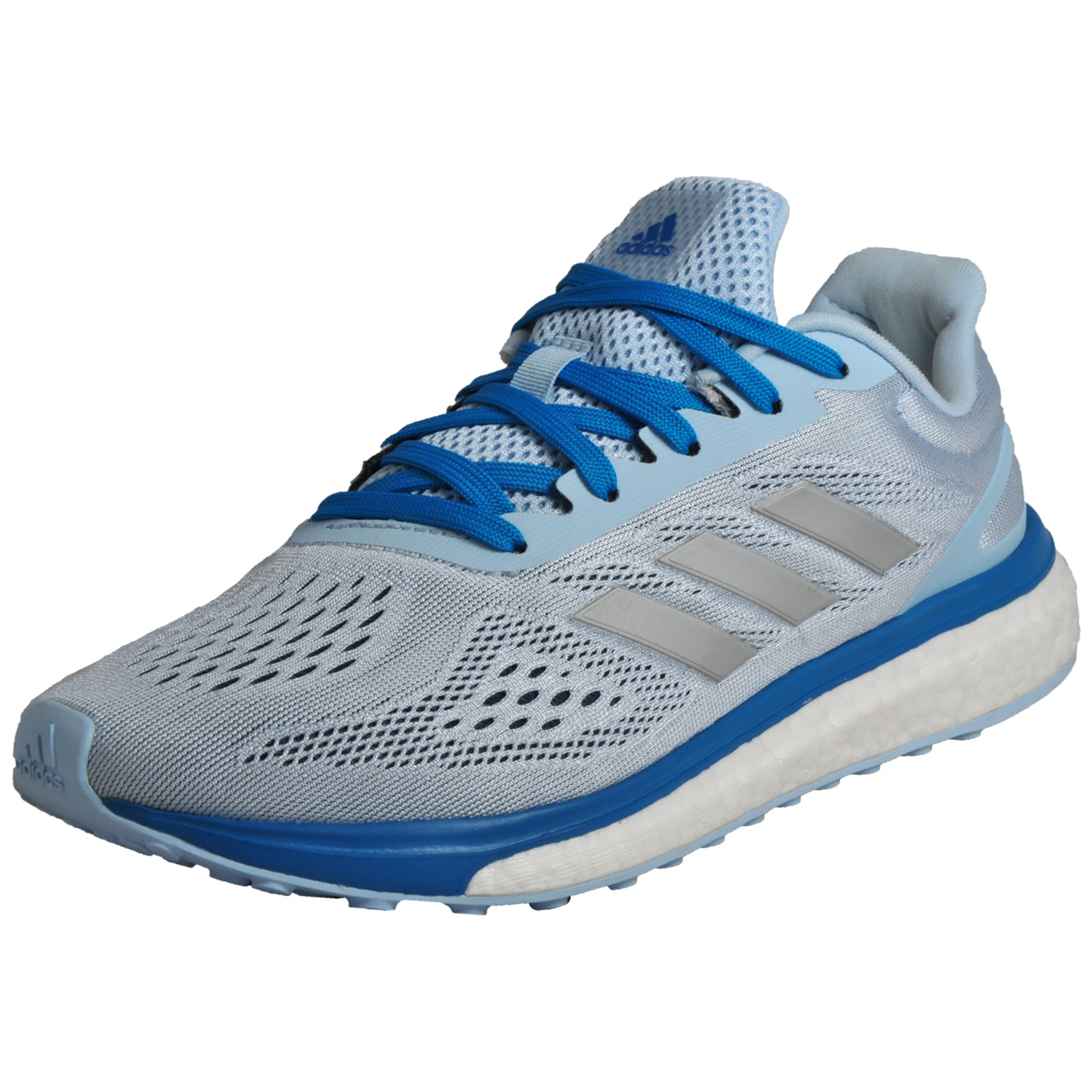 ec58ade92bd Details about Adidas Response Lt Boost Womens Premium Running Shoes Trainers  Silver Blue